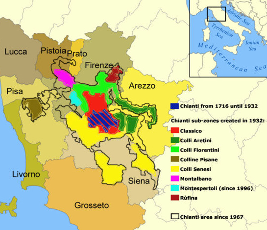 Chianti wine map